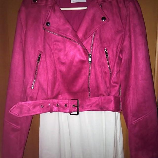 1bf6c1cde7 ÚJ Bershka pink velúr hatású motoros dzseki kabát, Hajdúszoboszló ...